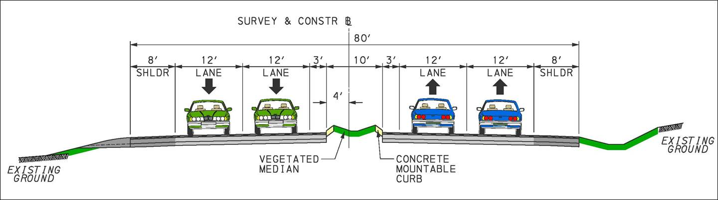 New four-lane section with curbed grass median